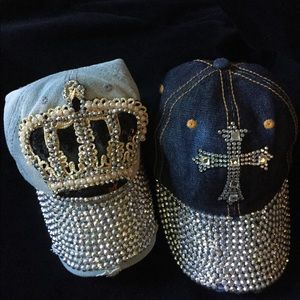 Accessories - Bundle of Bling Crown & Cross Distressed Ball Caps